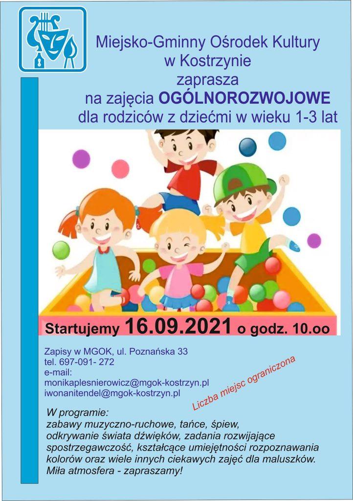 Plakat zapraszający do udziału w zajęciach ogólnorozwojowych dla rodziców z dziećmi