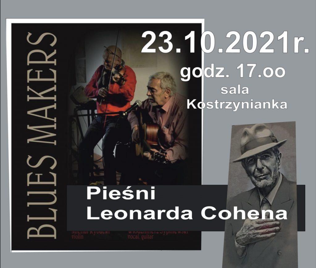 Plakat zapraszający na koncert pieśni Cohena w wykonaniu zespołu Blues Makers