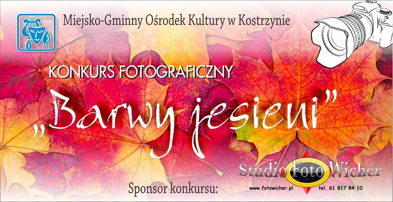 Plakat konkursu fotograficznego barwy jesieni i logo sponsora Foto Studio Wicher