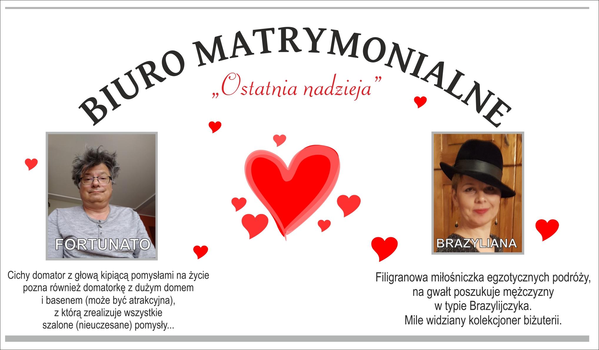 """plakat przedstawia napis; Biuro matrymonialne """"Ostatnaia nadzieja"""". Fotografie wykonawców: Fortunato i Brazyliana oraz charakterystykę."""