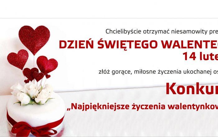 Plakat zapraszający do udziału w konkursie walentynkowym.