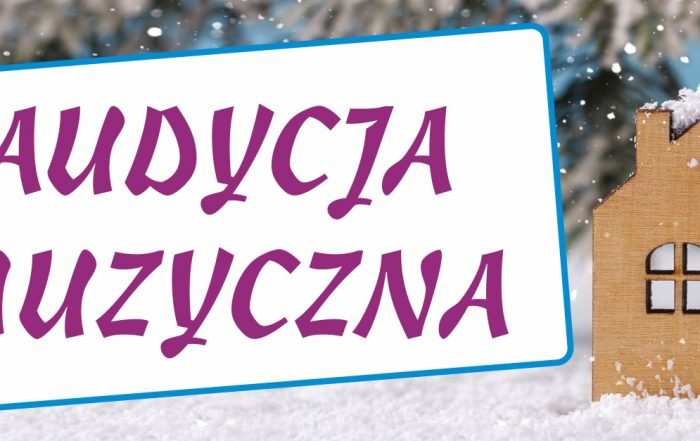 Plakat na ferie zimowe z napisem audycja muzyczna.
