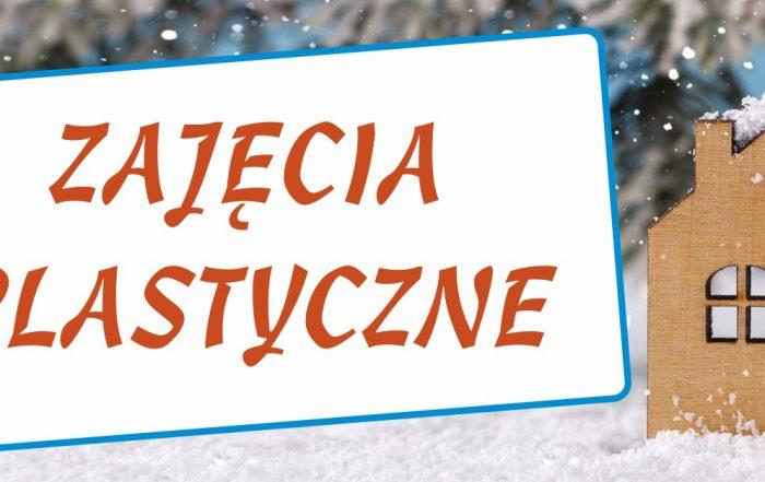 Baner ferii zimowych z napisem zajęcia plastyczne