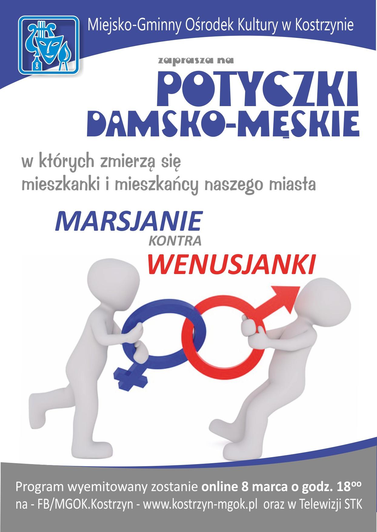 Plakat zapraszający do ogladania potyczek damsko - męskich.