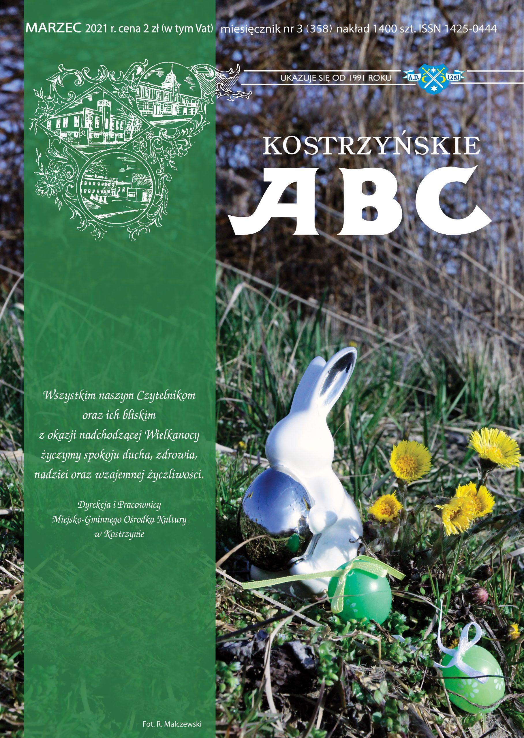 Okładka marcowego wydania Kostrzyńskiego ABC, przedstawia świątecznego zająca na łące i zyczenia od redakcji dla czytelników.