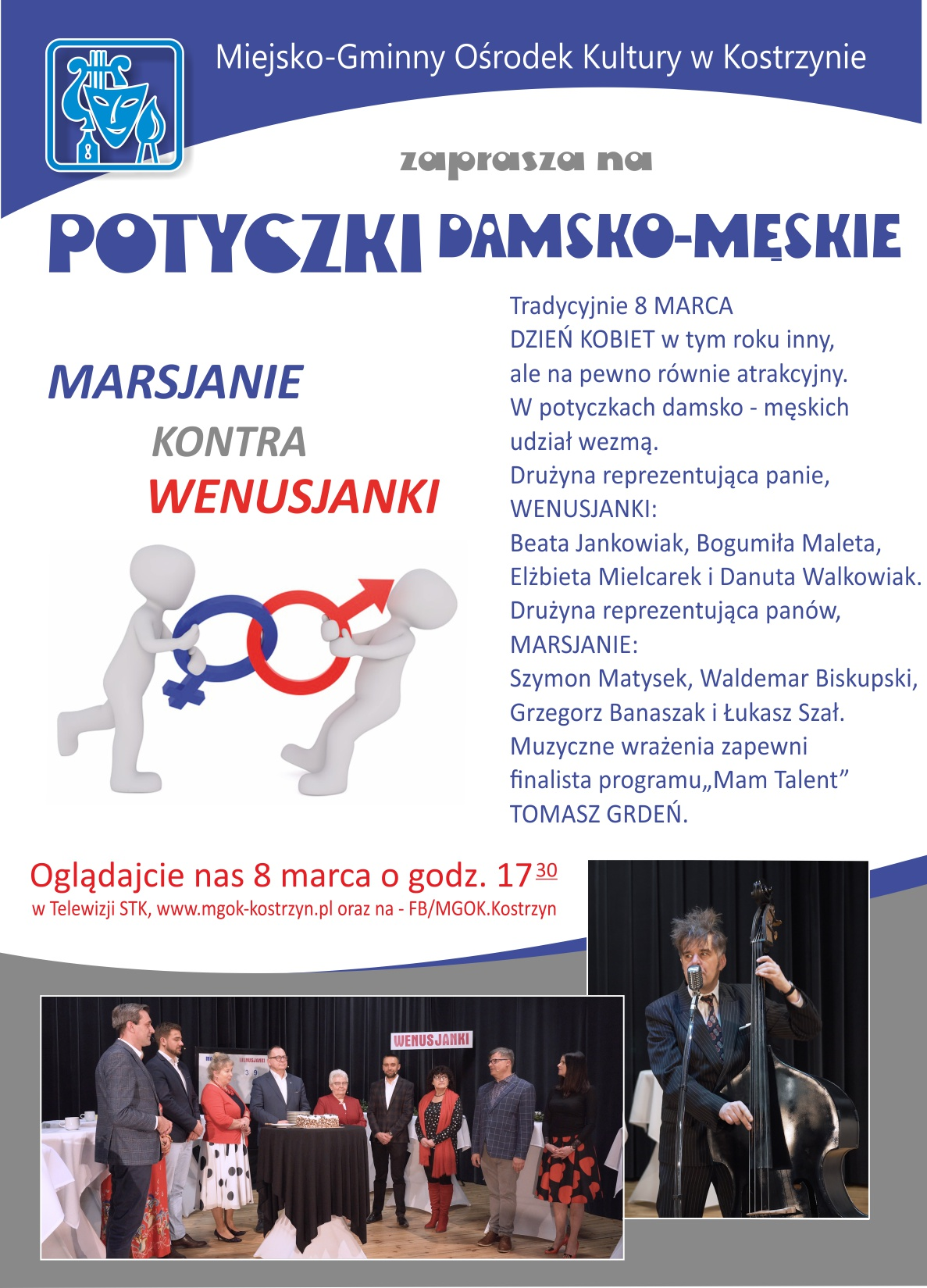 Plakat zapraszający do oglądania koncertu, Potyczki damsko męskie, 8 marca godzina 17,30 w telewizji STK i na stronie www,mgok-kostrzyn.pl
