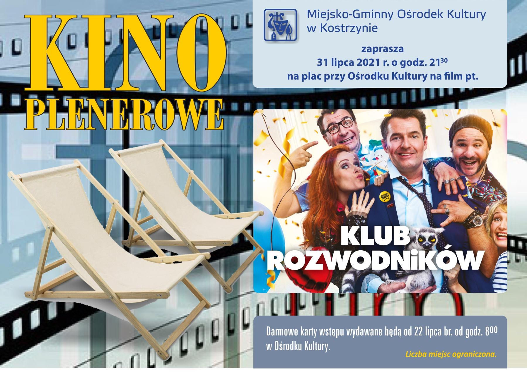 Film pt. Klub rozwodników, plaz przy MGOK, 31 lipca br. godz. 21,30. Darmowe zaproszenia do odbioru w MGOK od 22 lpca.