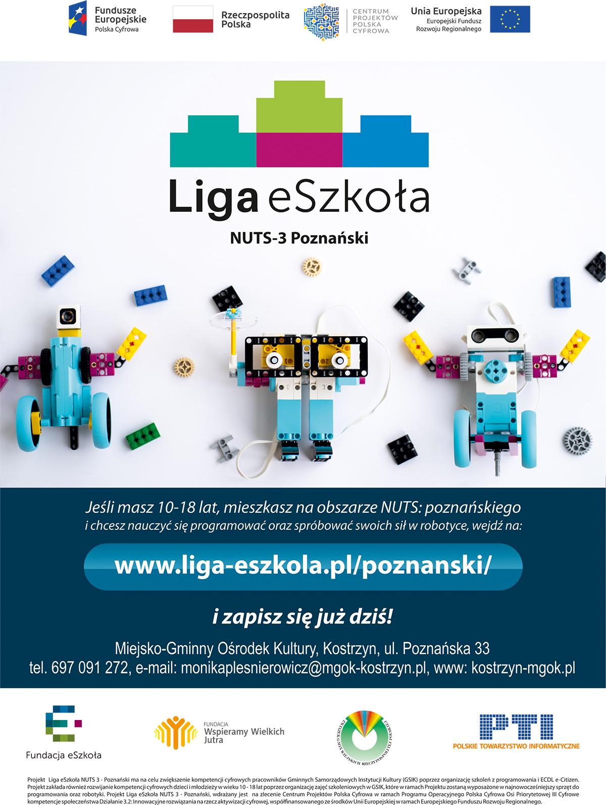 Plakat zapraszający na zajęcia zrobotyki