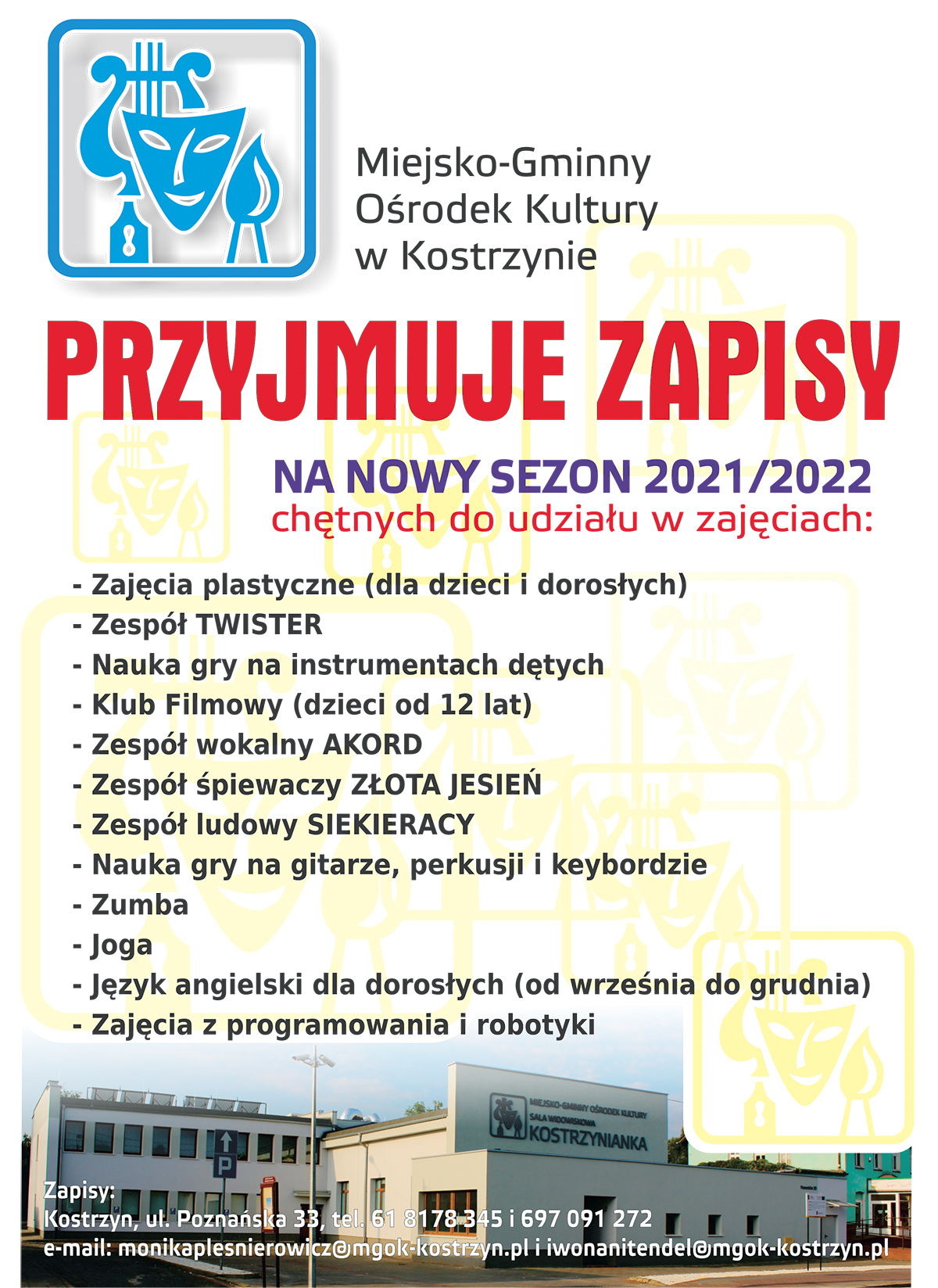 Plakat zapraszajacy na zajęcia w M-GOK